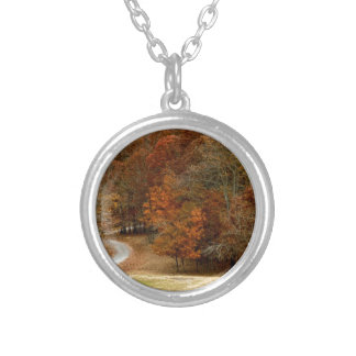 Fall Colors Landscape Autumn Trees Leaves Deer Personalized Necklace