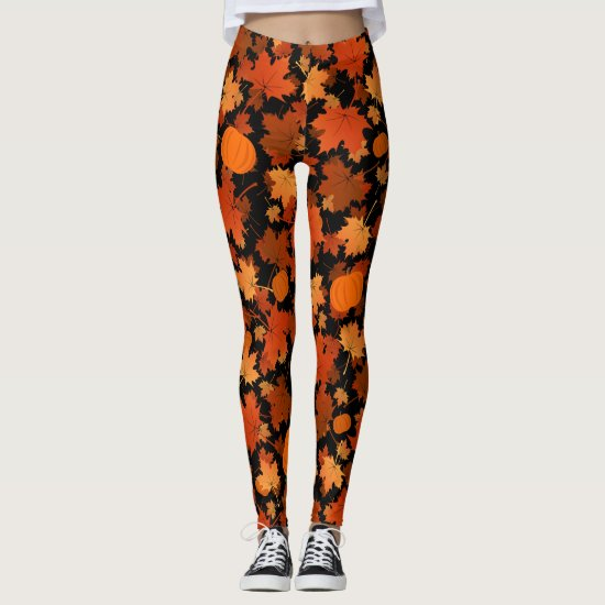 Fall colors maple leaves and pumpkins pattern leggings