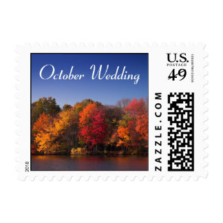 Fall Colors, October Wedding Postage Stamp