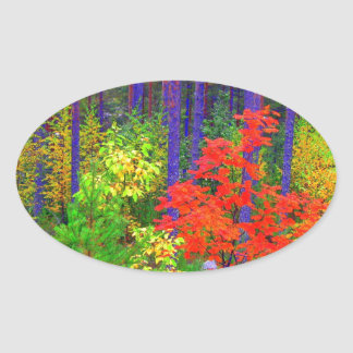 Fall colors oval sticker