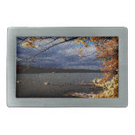 Fall Colors, Overhanging Tree by water Rectangular Belt Buckle