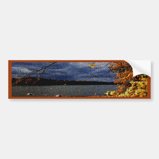 Fall Colors, Overhanging Tree by water Bumper Sticker