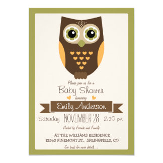 Fall Colors Owl, Baby Shower Invite
