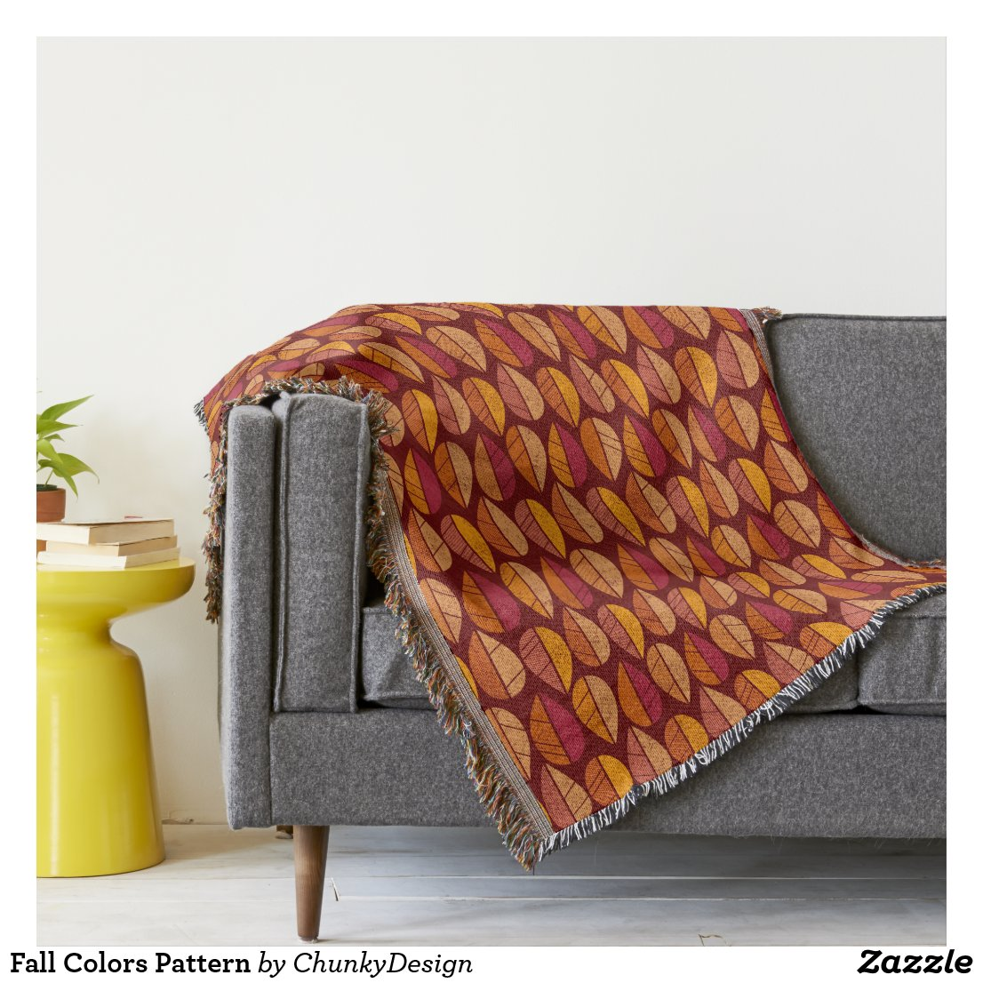Fall Colors Pattern Throw Blanket