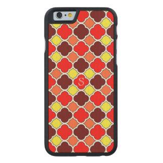 Fall Colors Red Orange Yellow Quatrefoil Monogram Carved Maple iPhone 6 Case