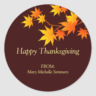 Fall Colors Thanksgiving Label Classic Round Sticker