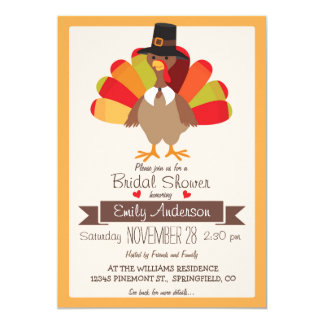 Fall Colors Thanksgiving Turkey Bridal Shower Card