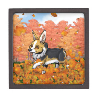 Fall Corgi Keepsake Box
