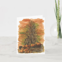 Fall Corn and Pumpkins Blank Card