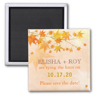 Fall Country Maple Leaf Cute Wedding Save the Date Magnet