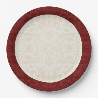 Fall Cream and Maroon Fleur Paper Plate
