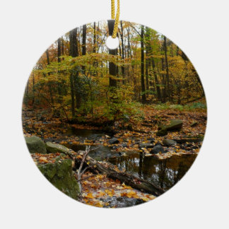 Fall Creek with Reflection at Laurel Hill Park Ceramic Ornament