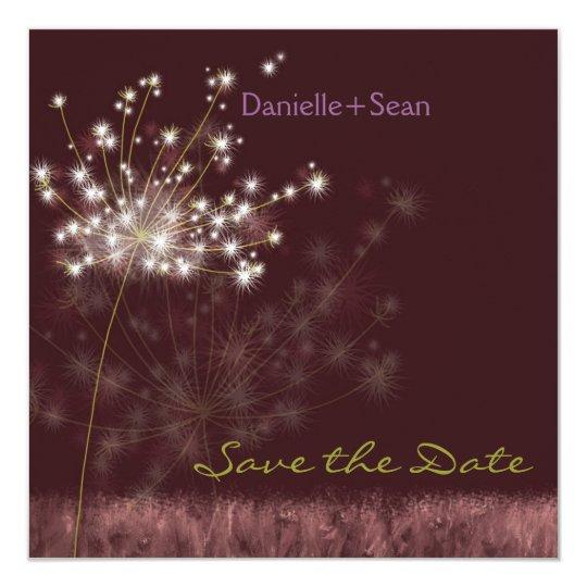 Fall Dandelions Burgundy Wedding Save the Date Card