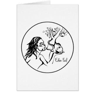 Fall de Eden - Eve come Apple en el jardín Tarjeta De Felicitación