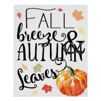 Fall Decor: fall breeze & autumn leaves Fall Print