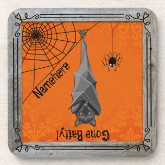 Fall Decor Gone Batty First or Last Name! Set of 6 Coaster