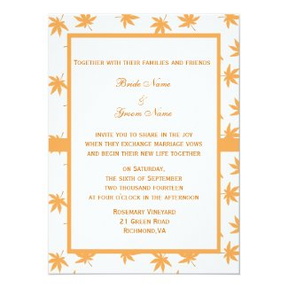 Fall decorative graphic yellow leaves wedding personalized invite