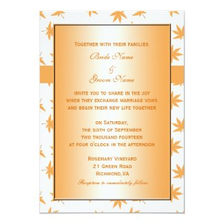 Fall decorative graphic yellow leaves wedding custom announcements
