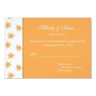 Fall decorative graphic yellow leaves wedding RSVP Custom   Invites