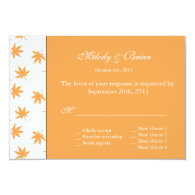 Fall decorative graphic yellow leaves wedding RSVP   Personalized Invites