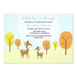 Fall Deer and Fawn Baby Shower Invite - Boy