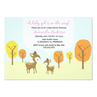 Fall Deer and Fawn Baby Shower Invite - Girl
