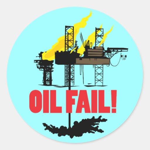 Fall del aceite pegatina redonda
