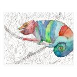 Fall del camaleón tarjeta postal