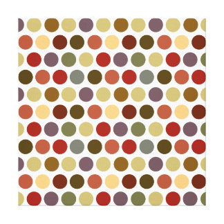 Fall Earth Tones Color Polka Dots Pattern Stretched Canvas Print