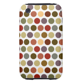 Fall Earth Tones Color Polka Dots Pattern Tough iPhone 3 Cover