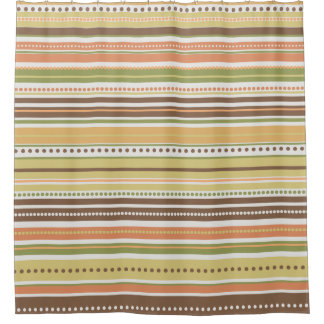 Fall Earthy Stripes Dots Lines Shower Curtain