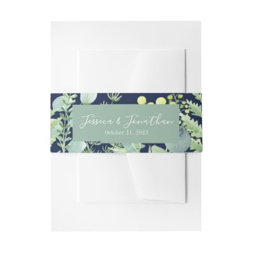 Wedding Themed Fall Eucalyptus Berry Floral Belly Band Navy