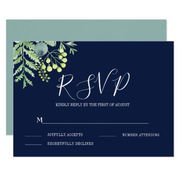 Wedding Themed Fall Eucalyptus Berry Floral Wedding RSVP Navy Card