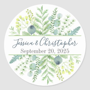 Wedding Themed Fall Eucalyptus Berry Floral Wedding Stickers