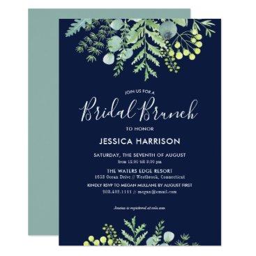 Wedding Themed Fall Eucalyptus Floral Bridal Shower Brunch Navy Card
