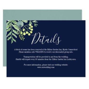 Wedding Themed Fall Eucalyptus Floral Wedding Details Card Navy