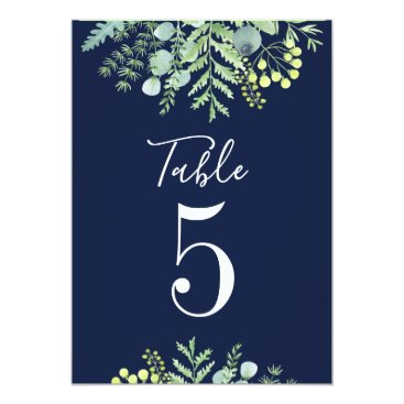 Wedding Themed Fall Eucalyptus Floral Wedding Table Number Navy