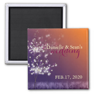 Fall Evening Dandelions Wedding Save the Date 2 Inch Square Magnet