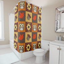 Fall Fabric Collage Personalized Shower Curtain