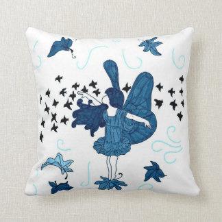 Fall Fairy Kids Throw Pillow (Blue)