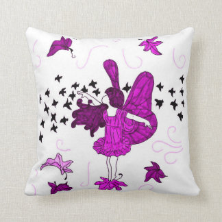 Fall Fairy Kids Throw Pillow (Pink-Purple)