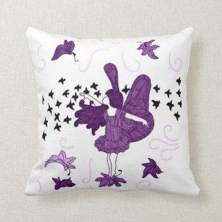 Fall Fairy Kids Throw Pillow (Purple)