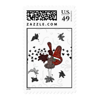 Fall Fairy Postage Stamp