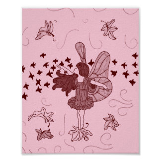 Fall Fairy Poster (Pink / Brown)