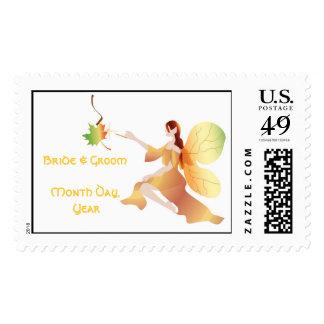 Fall Fairy Princess Wedding Postage Stamp