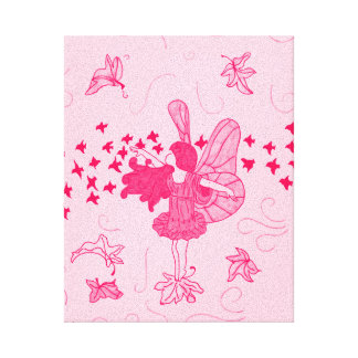 Fall Fairy Stretched Canvas Print (Pinks)
