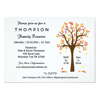 Fall Family Reunion, Party or Event 4.5x6.25 Paper Invitation Card