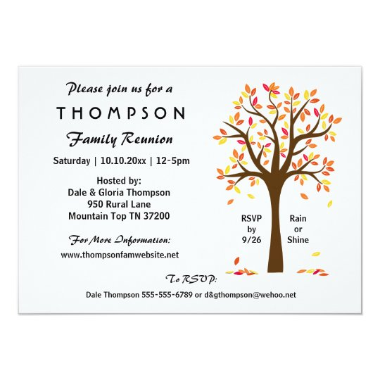 Fall Family Reunion Party or Event Card – Reunion Party Invitations