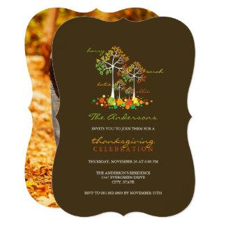 Fall Family Tree Photo Thanksgiving Dinner Invite
