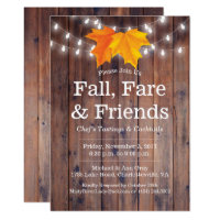 Fall, Fare & Friends Autumn Leaves String Lights Invitation